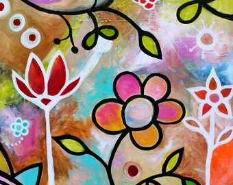 Folk Art Quietude Abstract Zen Calm Whimsical Flowers Florals Original Painting