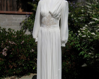 Antique Wedding Dress Maybe 30's or 40's Hand Embroidered Vintage White Sheer Floor Length Gown Maxi Dress CLEARANCE