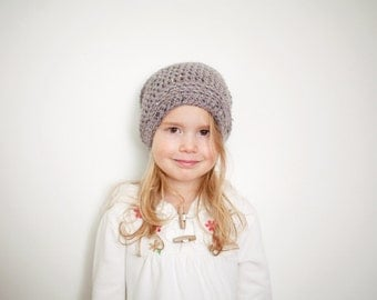 Grey Slouchy Beanie for Toddlers - Slouchy Hat, Youth Slouch Hat, 12 - 24 Months to 5T - Preteen (Morgan), READY TO SHIP