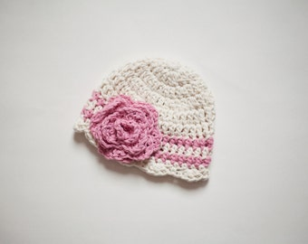 Crochet Infant Girl Hat in Ecru and Pink Cotton, Crochet Baby Hat, Girl Baby Beanie Hat for Infants, Newborn Size