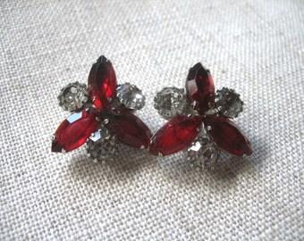 Vintage Rhinestone Earrings ~ Clip On ~Red & Crystal Rhinestones