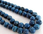 "Blue Jasper Beads - Round Beads - Blue Gemstone - Natural Smooth Ball - Snake Skin Jasper - 10mm - 16"" - Jewelry Supplies Diy Craft"