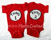 Thing 1 and Thing 2, Set of Dr Seuss Inspired Twin Onesies | Rompers | Baby Shirts | Body Suits | Infant Costumes