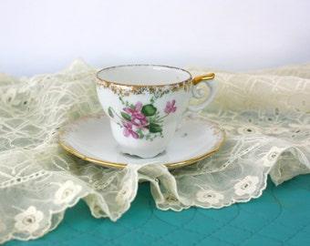 Vintage 50s Demitasse Cup & Saucer White Porcelain w HP Wild Purple Violets Gold Trim