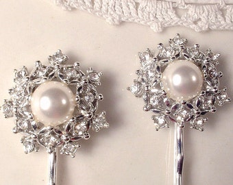 White Ivory Pearl & Rhinestone Vintage Wedding Bridal Hair Pin Pair, Silver Heirloom Jeweled Bobby Pins Set of 2, Vintage Modern Round Clips