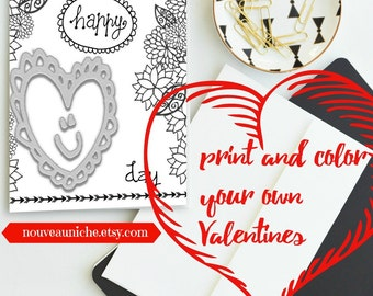 Valentine Coloring for Kids Printable Valentine Card DIY Valentine Digital Print Valentine Kids Coloring Card Coloring Sheet