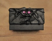 RESERVED for Midian ONLY - Grichels leather Magic the Gathering double deck box - black with custom mauve purple glittery slit pupil eyes