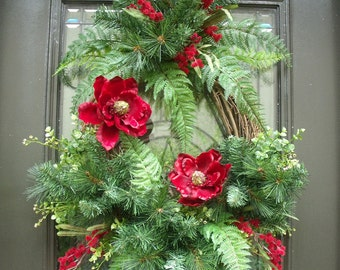 Magnolia Christmas Wreath, Pine Wreath, Floral Door Wreath, Winter Wreath, Home For The Holidays