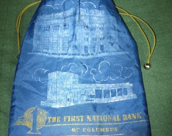 Vintage Bank Money Coin Bag Sack First National Bank Columbus Blue