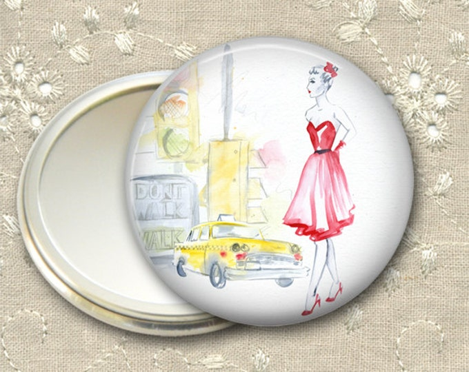 fashionista pocket mirror,  original art hand mirror, mirror for purse, gift for her,  bridesmaid gift, stocking stuffer  MIR-FASH-3