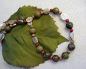 Nature inspired necklace in stone, wood and silver