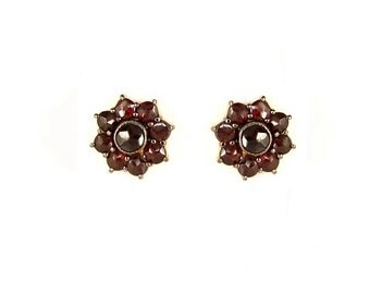 Vintage garnet flower earrings yellowgoldplated in Victorian style|| ГРАНАТ