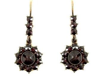 Dangling Round Bohemian garnet earrings || ГРАНАТ 074