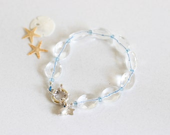 Genuine Faceted Large Quartz Bracelet, Clear, Light Blue, Quartz Bracelet, Sterling Silver, Gift For Her, Amy Bracelet, Signature Collection