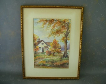 Framed Watercolor, Vintage, fall colors, house, cottage, trees, landscape