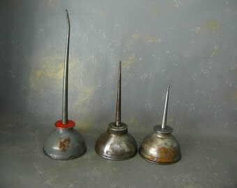 Vintage Oil Cans, instant collection, group, silver, red, mix, industrial