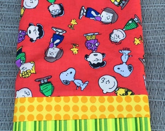 Pillowcase - Snoopy and Friends on Red Cotton Standard Size Pillow