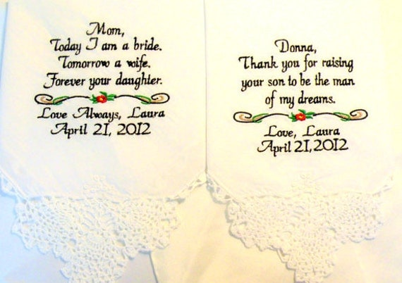 Wedding gift for Mother of the Bride and Groom Set of 2 By Canyon Embroidery