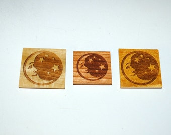Laser Engraved Moon Star Magnets on 3 Different Woods -Laser Engraved Magnet - Recycled or Upcycled Wood - Small Gifts - Free Shipping