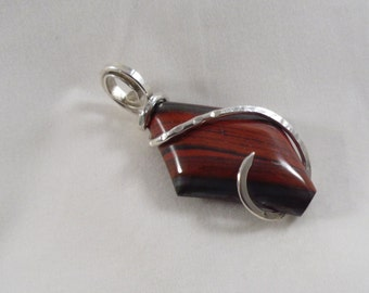 RED Stripes on Grey held in Sterling Silver