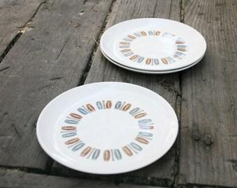 Vintage Set of 3 Colorcraft Java Kay Dessert Plates