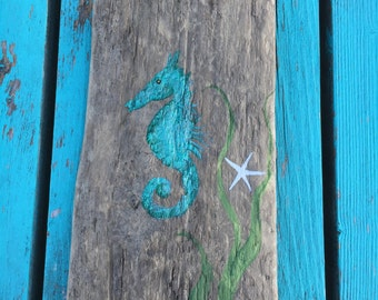 Hand Painted Rustic Maine Driftwood Seahorse, Wall Art Sign,  Bathroom Art, Coastal Beach Cottage, Nautical Home Decor