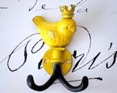 Cast Iron Bird Hook Bird Wall Hook Upcycled Bird Hook Nursery Hook Kitchen Hook Wall Hook Bird Decor Yellow Bird Hanger Jewelry Hook Crown