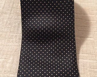Lux Taupe Swiss Dot on Black Vintage GIANNI BUTTI Silk Necktie