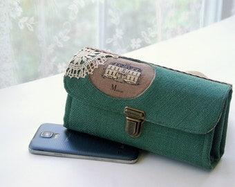 Downtown Abbey inspired - phone wallet clutch - medium, gift for sister mom women wife iphone 6 7 green retro vintage handmade READY TO SHIP