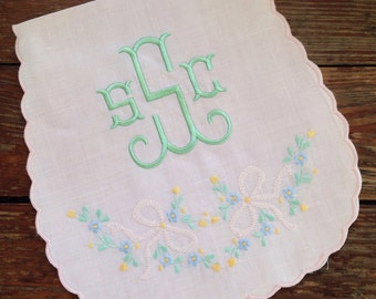Hand embroidered and monogrammed /personalized Linen Madeira burp cloth / church burp / available in pink and white