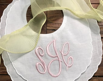 Personalized / embroidered / monogrammed linen baby bib / monogrammed in the Empire Font
