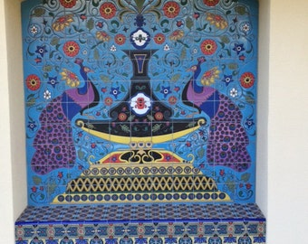 Contemporary Spanish Tile Mural ~ Peacocks, Flowers and Lots of Color ~ Hand Painted Tiles
