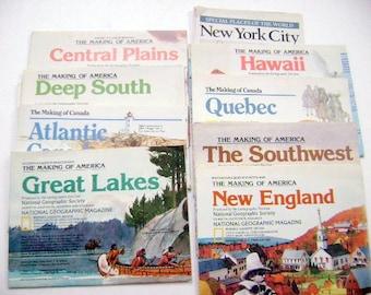 "Nine ""The Making of America""  Vintage Maps"