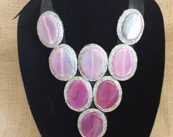 Statement Bib / Dress Necklace  Sugilite Natural Gemstone OOAK Necklace