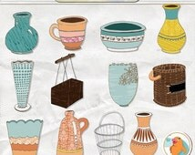 SALE - Flower Pot Clip Art, Container Basket ClipArt, Flower Vase Digital Graphics, Create Flower Bouquets, Royalty Free Instant Download