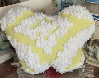 Vintage chenille Bedspread Butterfly Valentine little yellow pillow, lavender scent