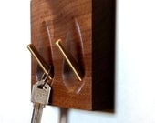 Key holder - solid walnut and brass key hooks