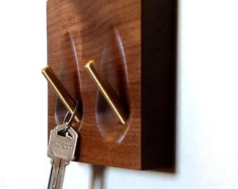 Key holder - solid walnut and brass key hooks