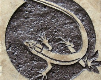4x4 Lizard Tile - Etched Travertine Stone Decorative Tile