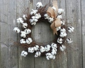 Cotton Wreath, Cotton blossom twig wreath