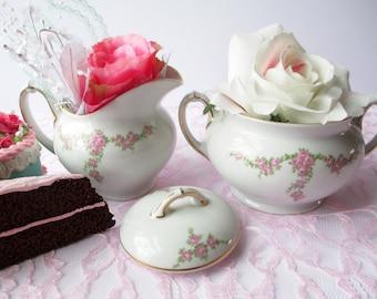 Vintage Heinrich Rosalinda Pink Rose Cream & Sugar Set