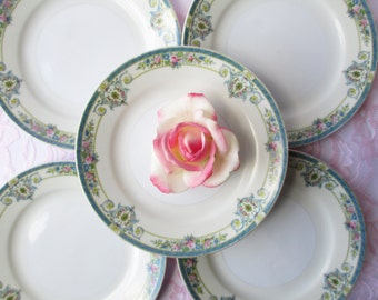 Vintage Blue Floral Japan Salad Plates Set of Five