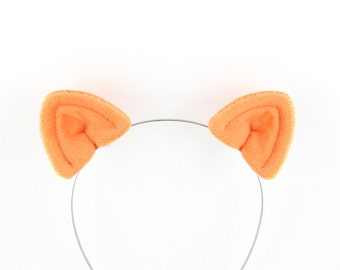 Cat Ears Hair Clips Light Orange Plush Cat Costume Ears