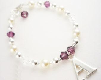 Flower Girl Bracelet with Initial Charm