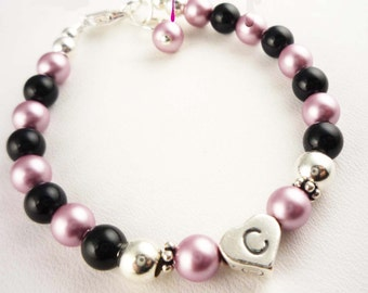 Custom design your own flower girl bracelet in Powder rose and black Swarovski pearls and sterling silver for the wedding