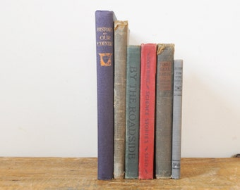 Antique School  Book Collection Set of 6 Old Early 1900s School Books Decorative Hardcover Book Lot
