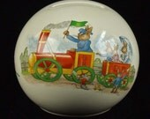 Vintage Royal Doulton England English Porcelain Round Bunnykins Money Ball Bank Rarer Railroad Train Scene Baby Shower Gift  ATCTTEAM TNTEAM