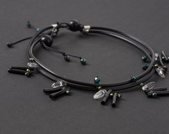 Black Leather Necklace with Clear Quartz Crystals and Black Coral Sticks