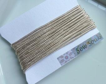 Moroccan Soutache or cord, 3mm, ivory art silk 5 metres