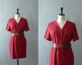 Vintage 1980s red silk dress. Shirtwaist dress. Silk shirt dress